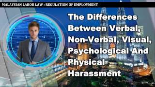 The Differences Between Verbal, Non Verbal, Visual, Psychological And Physical Harassment