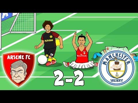Arsenal vs Man City: THE SILENT MOVIE! (2-2 Parody Highlights 2017, Monreal Handball Walcott Tackle)