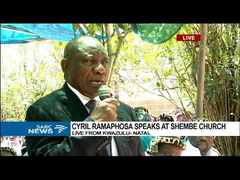 Ramaphosa speaks at the Shembe Church in KZN