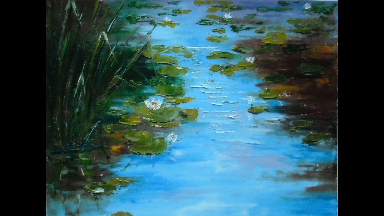 Palette knife oil painting with lana kanyo lilies pond for What is canvas painting