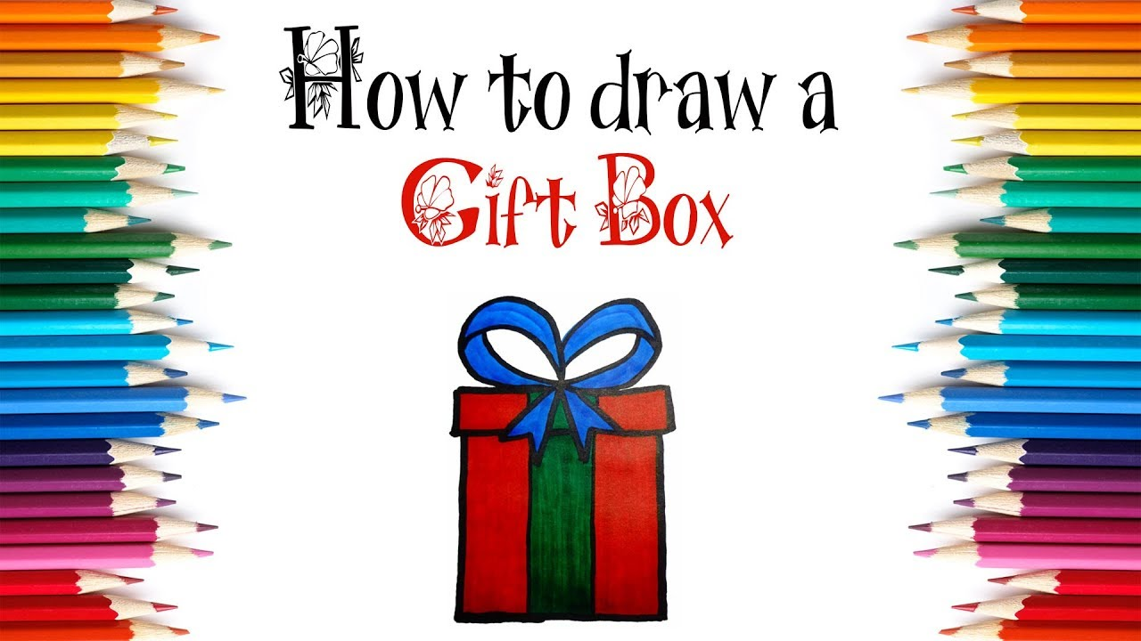 how to draw a christmas gift box step by step draw a gift box for kids