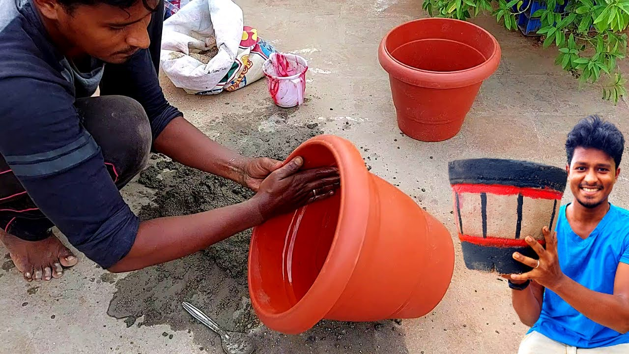 How to Make Cement Pot at Home   வீட்டிலேயே சூப்பரான சிமெண்ட் தொட்டி செய்யலாம் வாங்க!   Vijay Ideas