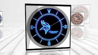 Minnesota Vikings American Football Neon Sign Bar Wall Clock