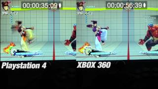Ultra Street Fighter 4: PS4 vs XBOX360 Input Delay side by side