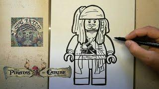 COMO DIBUJAR A JACK SPARROW - LEGO / how to draw jack sparrow - lego
