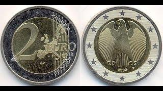 Обзор монеты 2 EURO Германия 2003 года выпуска !!!(Монета регулярного чекана Германии., 2016-04-30T19:41:29.000Z)