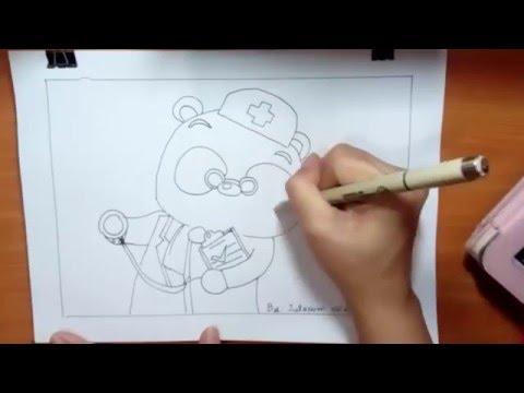 หมีแพนด้า วาดภาพ ระบายสี