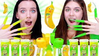 ASMR Eating Only One Color Food | Yellow and Green Candy Party