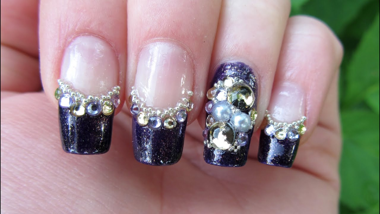 easy blingy purple and gold rhinestone design nail art tutorial