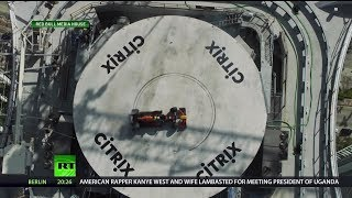 700 feet High: Race Car Does Donuts on Roof