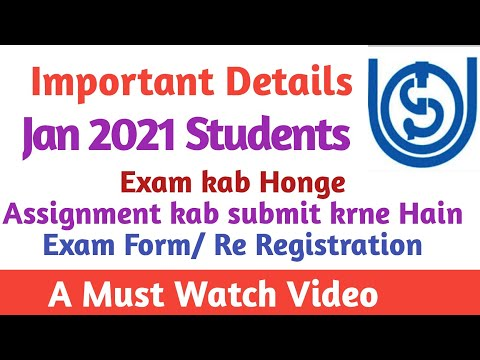 Important Video For Ignou January 2021 Session Students   Assignment/ Exam/ Re Registration