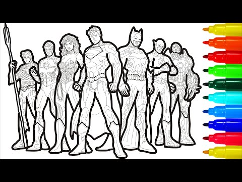 Justice League Heroes Of The Galaxy Coloring Pages Colored Markers | Justice League Coloring Pages