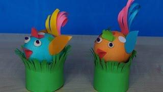 Птички из яиц и цветной бумаги на Пасху. Как сделать поделки своими руками.