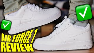 Nike Air Force 1 REVIEW & ON-FEET! WATCH BEFORE YOU BUY! EVERYTHING YOU NEED TO KNOW & LOOSE LACES!