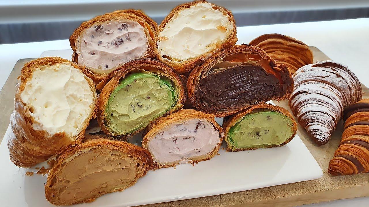 How to make 5 Kinds of Cream Croissant - Koeran Food [ASMR]