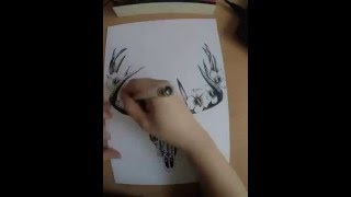 time lapse/speed up drawing deer skull