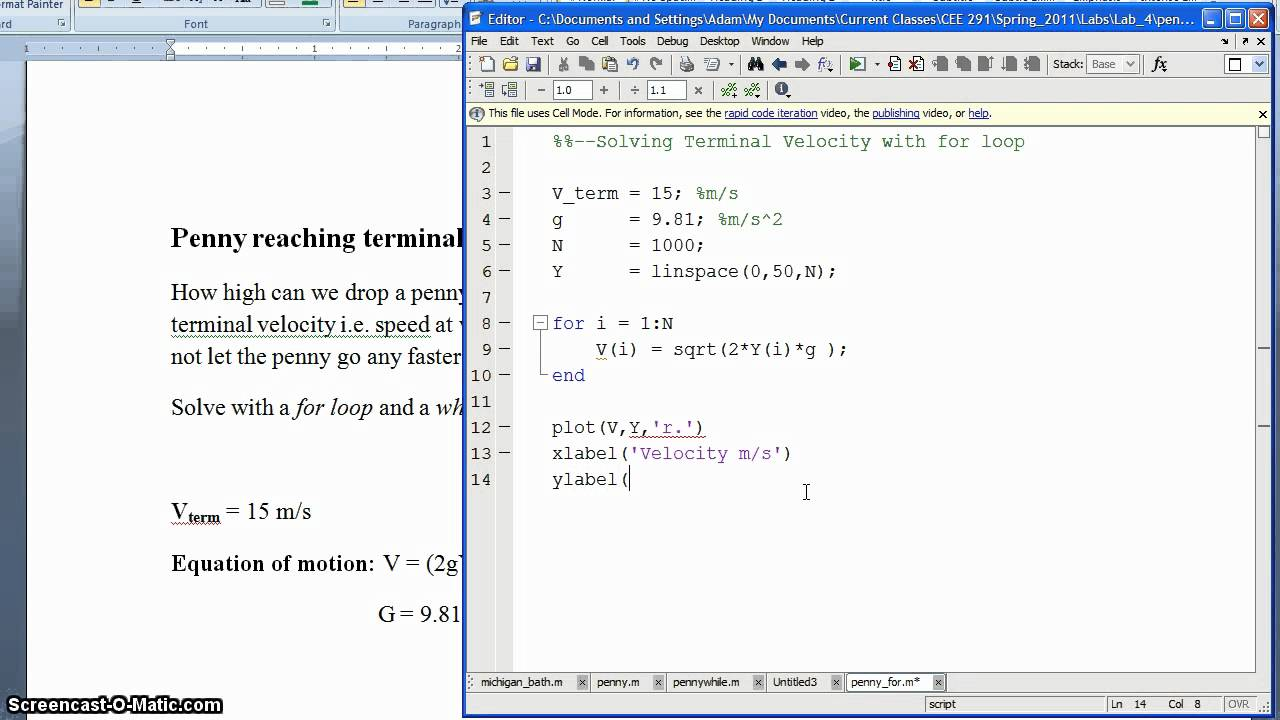 Matlab: For and While Loops