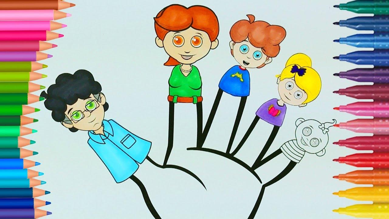 Parmak Ailesi Boyama Sayfası Ile Renkleri öğreniyorum çocuklar