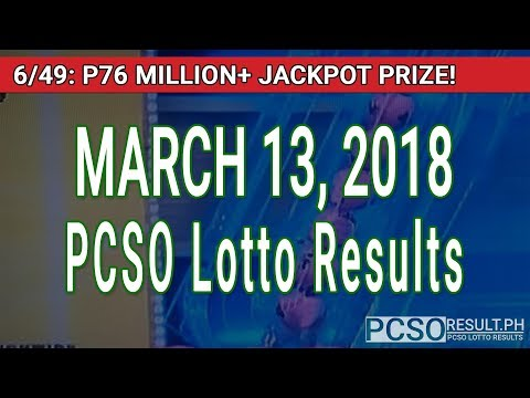 PCSO Lotto Results Today March 13, 2018 (6/58, 6/49, 6/42, 6D, Swertres, STL & EZ2)
