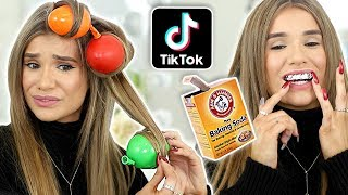Testing VIRAL TikTok Beauty Hacks... *THEY WORKED!* (Balloon Curls, DIY Teeth Whitening)