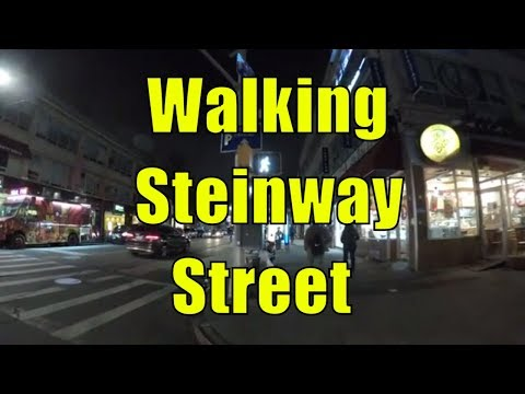 ⁴ᴷ Walking Tour of Astoria, Queens, NYC - Steinway Street to Ditmars Boulevard at Night