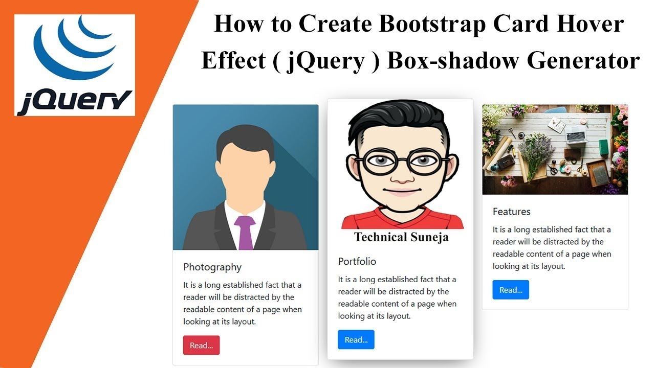 How to Create Bootstrap Card Hover Effect ( jQuery ) | Box-shadow Generator  🔥🔥