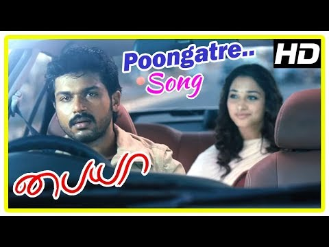 Karthi Hit Songs | Poongatre Song | Karthi takes Tamanna to Mumbai | Paiya Tamil Movie Scenes