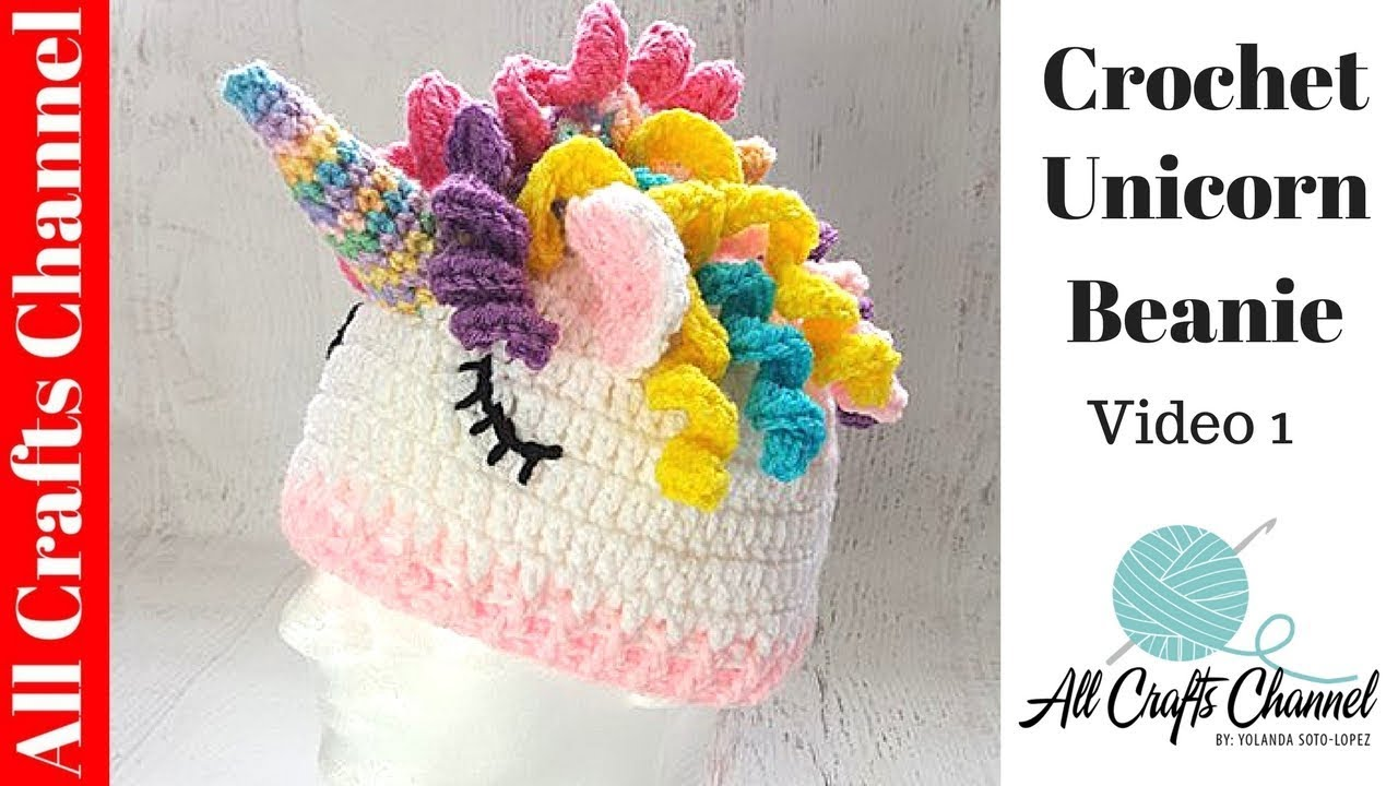 How to crochet fun and easy unicorn hat video one youtube for Diy crafts youtube channels