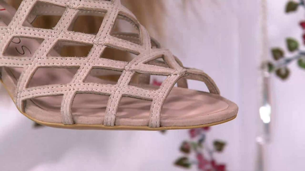 804096f870e8 Sole Society Suede Caged High-heeled Sandals - Portia on QVC - YouTube
