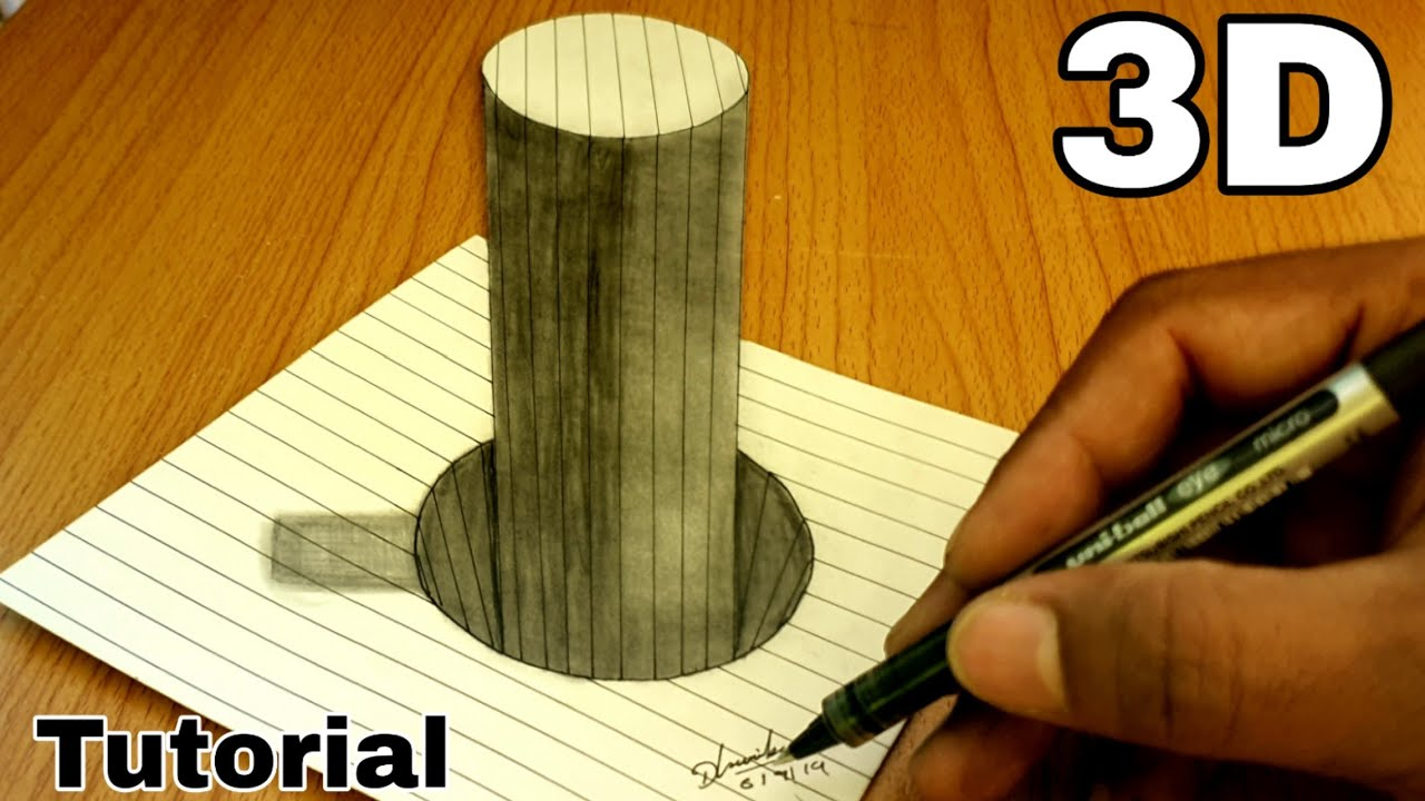 How to Draw a tiny house on line paper 3D trick Art step by step