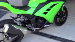 New 2014 Kawasaki Ninja 300 Standard Exhaust sound vs the Akrapovic