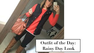 Outfit of the Day: Rainy Day Look |Boots, Vest, & Hat|