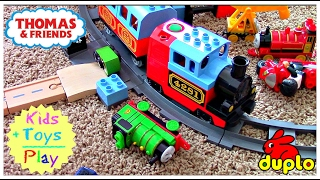 Thomas and Friends Wooden Railway with Brio & Duplo Trains Playtime | Playing with Trains