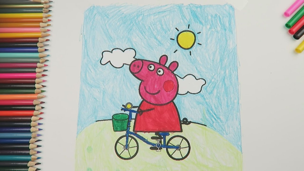 Coloring pages 7 year olds - Peppa Pig Riding A Bike Coloring Page Colored By 7 Year Old Girl Kids Fun Art Kid S Fun Pack