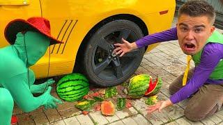 Green Man Plucked WATERMELON \u0026 put it under Wheel of car VS Mr. Joe on CAMARO CRUSHED watermelon 13+