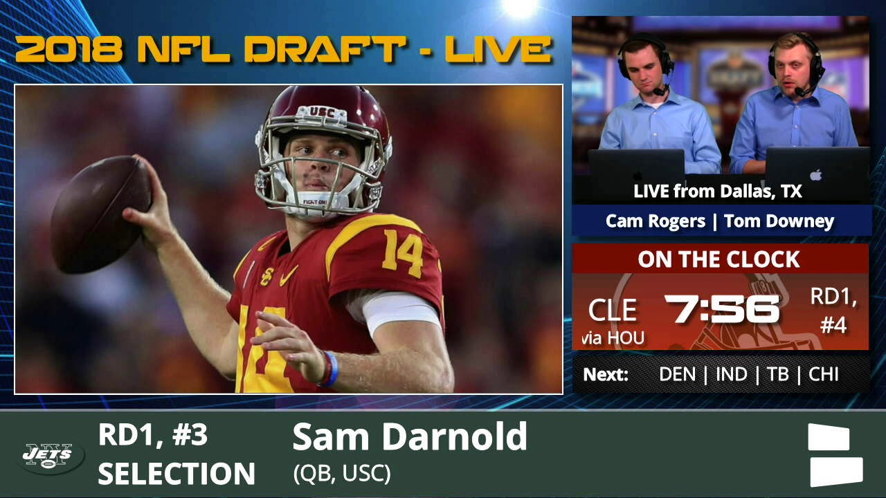 New York Jets Select Qb Sam Darnold From Usc With Pick 3 In 1st Round Of 2018 Nfl Draft