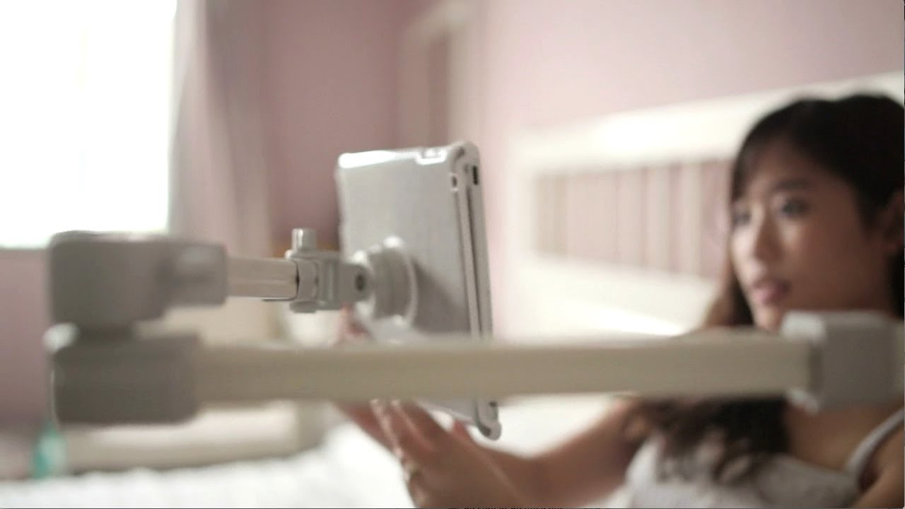 An iPad wall mount, the Airholder in a bedroom - YouTube