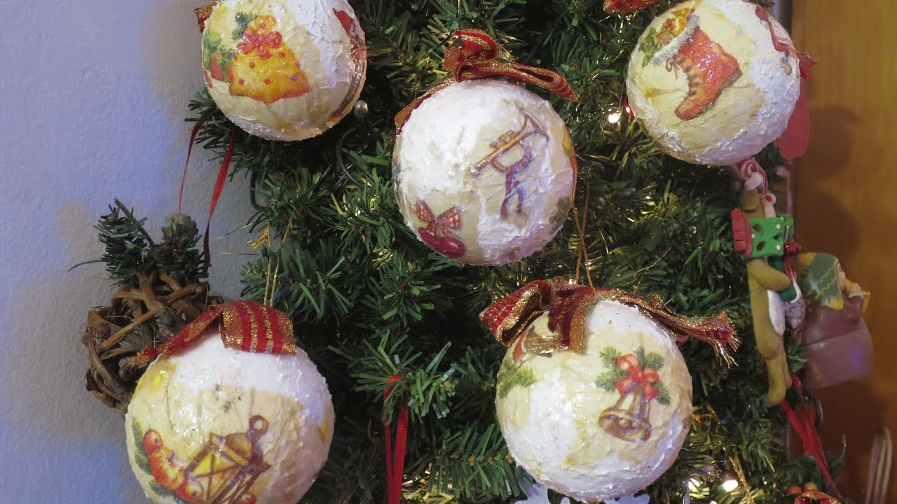 Palline per l 39 albero di natale diy decoupage youtube for Youtube lavoretti di natale