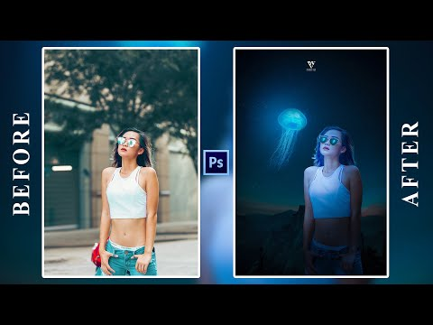 Fantasy Glowing Jellyfish Miniature Dreamy Photo Effect Photoshop Tutorial