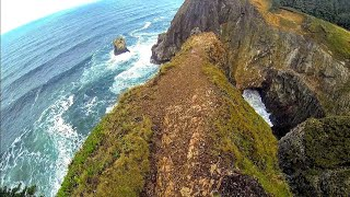 Cliff Walk At Oregon Beach In Oswald West State Park - Gopro