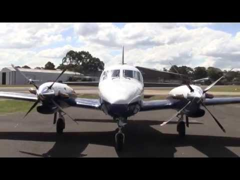 Piper Cheyenne II PT6A engine start up close and taxi