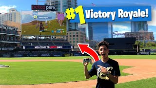 I Won a Game of FORTNITE on a JUMBOTRON!! (BIGGEST BASEBALL STADIUM)