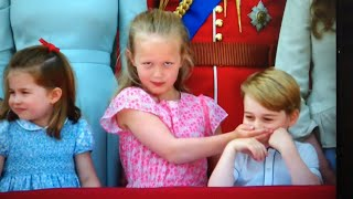Mischevious Prince George & Royal Cheeky Children ALL BALCONY MOMENTS In Front Of The Queen