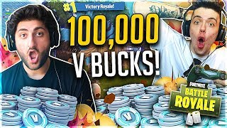 100,000 V BUCKS WAGER!! Fortnite: Battle Royale VS. FaZe Adapt