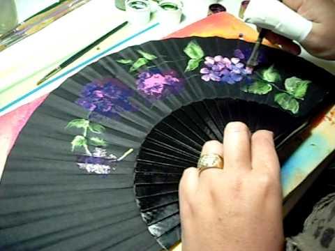 How to paint a fan como pintar un abanico youtube - Como pintar azulejos a mano ...
