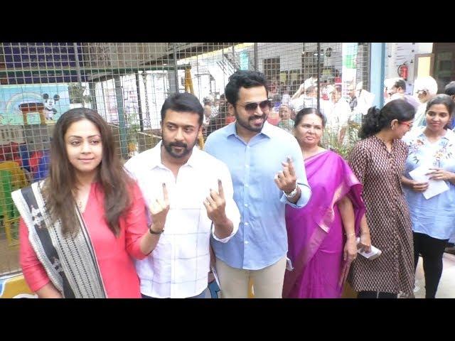 Actor Suriya Family Cast Vote in T Nagar | Sivakumar | Karthi | Jyothika | YOYO TV Tamil