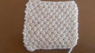Aprende a tejer punto de arroz doble en dos agujas