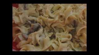 Макароны с соусом Альфредо и грибами