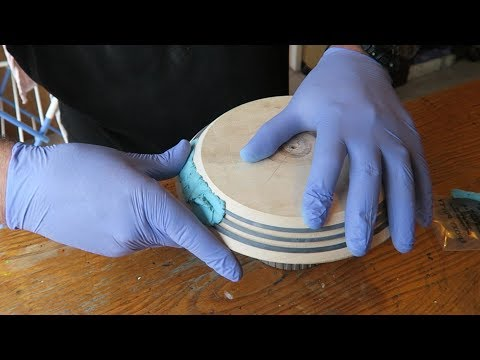 Woodturning a Bowl with Turquoise Milliput Inlay