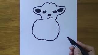 🔴 Drawing Art 👉🏻 Stick Figure Sheep Small Sinus Taught Painting